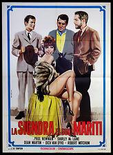CINEMA-manifesto LA SIGNORA E I SUOI MARITI newman, mclaine, van dyke; TOMPSON