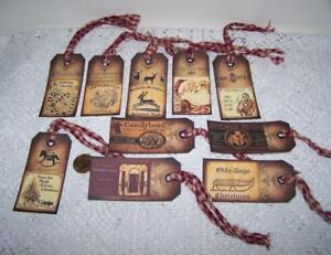 10~Christmas~Old World~Santa~Primitive~Label~Linen Cardstock~Gift~Hang~Tags