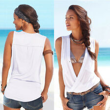 Womens Ladies Sleeveless Blouse 2 Pockets V Neck Wrap Front T Shirt Work Top White Xl/ UK 12-14