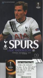 Tottenham Hotspur Spurs v RSC Anderlecht 2015 2015/16 Europa League + ticket