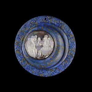 Carved Jesus Preach Lapis lazuli Bead GG875004