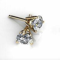 5Ct Round Brilliant Cut Moissanite Diamond Earrings Stud14k Yellow Gold Women