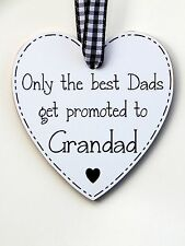 Only the best Dads get promoted to Grandad Plaque Sign Black - Father's Day Gift