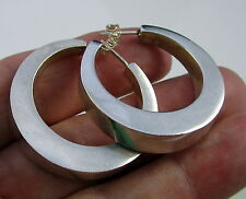 Estate Vintage Lovely Thick Sterling Silver Mexico Large Hoop Pierced Earrings