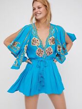 NWT Free People Turquoise Cora Embroidered Tie Waist Boho Mini Dress Size M $148