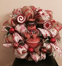Holiday Gingerbread Man Christmas Deco Mesh Wreath 25 Inches Round