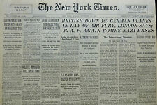 9-1940 WWII September 16 BRITISH DOWN 185 GERMAN PLANES DAY FURY; RAF BOMB BASES