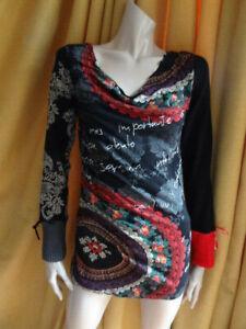 (396OCT) Size L 14 *DESIGUAL* Chic black print jumper top ladies