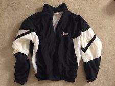 VTG 80s 90s Reebok Black White Nylon Windbreaker Size M Streetwear Hip Hop