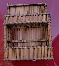 "Vintage Wicker Rattan Hanging Wall Shelf Standing 2 Tier Retro 15"" x 11"" x  4"""