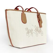 COACH L Shoulder Zip Top Shopper Totes White Chalk HORSE CARRIAGE CANVAS Bag NWT