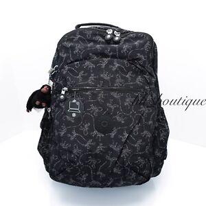 NWT Kipling BP4372 Seoul XL Backpack Laptop Travel Book Bag Monkey Novelty Black