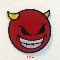 Devil Emoji with Smiley and Horn Badge Iron on Sew on Embroidered Patch #1695