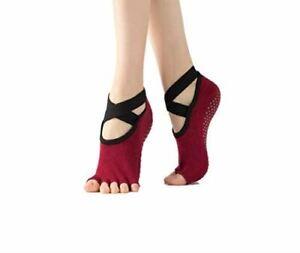 Kindred Home Yoga Socks with Straps 3-Pack Non Slip Grip Toeless Socks Suitable