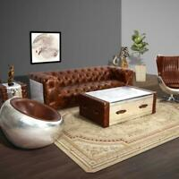 MARQUESSLIFE HANDMADE 100% GENUINE LEATHER LUXURY INDUSTRIAL SERIES TUFTED COUCH