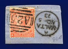 1872 Sg94 4d Vermilion Plate 13 J60 Ac Malta A25 No 5 73 Good Used Cat £75 cjnt