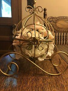 Wire Cinderella Pumpkin Coach Carriage Centerpiece Gold With Flowers/bridal