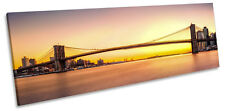 Brooklyn Bridge New York Sunset CANVAS WALL ART Panorama Framed Print