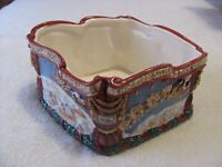 """Vintage 1993 Fitz and Floyd Potpourri Bowl """"The Night Before Christmas""""  in box"""