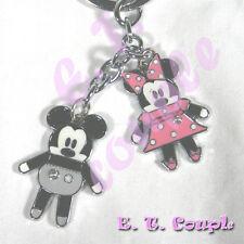 2P Mickey Minnie adorable Love pook a looz phone strap rare gray Disney keychain