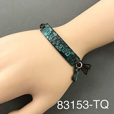 Bohemian Style Brown Leather Patina Hammered Blessed Engraved Bracelet