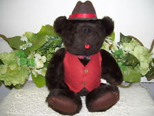 CLASSIC JOINTED TEDDY BEAR IN HAT VEST & BOWTIE KENT COLLECTIBLES 1985