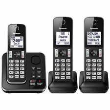 Panasonic KX-TG163K Cordless 3 Handset Landline Telephone w/ Answering Machine