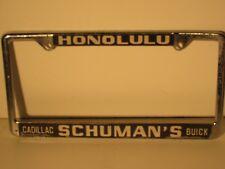 Vintage Honolulu Schuman's Cadillac Buick License Plate Frame Embossed Holder