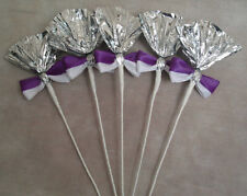 Mini Horse Rosettes Mane Flowers Foil Decorations - Silver, Purple and White