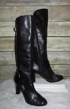 GUESS Wgnite Black Leather Buckle Accent Sz 10M Knee High Fashion Boots