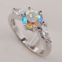 Rainbow Topaz 925 Sterling Silver Gemstone Ring Size 6 7 8 9 10 F692