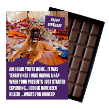 Funny Boxer Dog Lover Birthday Gift Boxed Chocolate Greeting Card UK