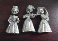 "Lot of 3 Vintage Small Lead Angel Girl Figurines 1 1/2"" Tall"