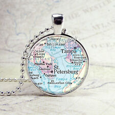 FLORIDA TAMPA St. PETERSBURG Vintage Map Jewelry Glass Bezel Pendant