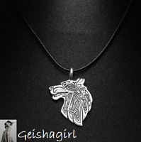 Gothic Nordic VikingWolf Head Amulet Rune TibetanSilver Cord NecklaceUK Sell