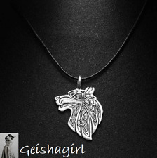 Rune TibetanSilver Cord NecklaceUk Sell Gothic Nordic VikingWolf Head Amulet
