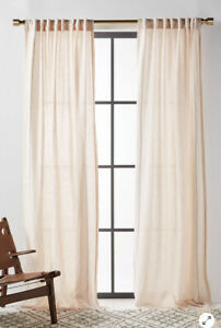 NEW Anthropologie Stitched Linen Curtain Panel In Oatmeal 50x84