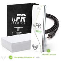 NFC RFID Reader uFR Nano USB 13,56MHz Writer Free software SDK and cards keyfobs