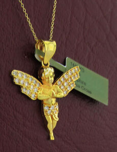WHITE SAPPHIRES ANGEL 3D PENDANT 14K YELLOW GOLD ** New With Tag **