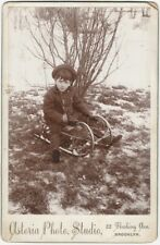 1900s Unhappy Boy on Sled with No Snow Brooklyn Cabinet Card