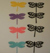 8 Dragonfly Die Cuts Shimmer Card Stock 4 solid color 4 black over 2 1/2 in wide