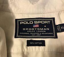 Polo Sport Ralph Lauren Men's Short Sleeve Corduroy Shirt Beige Extra Large (XL)