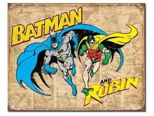 DC Comics A3 Retro Tin Metal Sign BATMAN and ROBIN 41x32cm Licensed DYNAMIC DUO