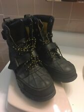 Men's Polo Ralph Lauren Dover II Black Leather Duck Boots Size 9 D