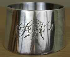 Solid Silver Napkin Ring, Oblique Cylinder, Monogram DW, London, SB, 1909