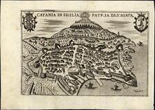 Catania Sicilia Sicily Aetna Italy Italian city plan 1629 Bertelli antique map