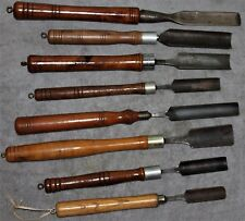 VINTAGE LATHE GOUGE CHISELS LOT OF 8 EXTRA LONG HANDLES WM GREAVES & SONS+MORE