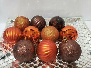 "10 Thanksgiving Fall Harvest Orange Brown Ball Christmas Ornaments Decor 3"""