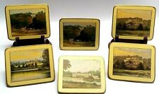 6 Vintage Pimpernel Photo Coasters Scenes of English Castles Made In England