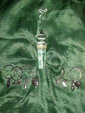 MIKASA Lead Crystal GOLFER WINE Bottle Stopper & Wine Glass Markers